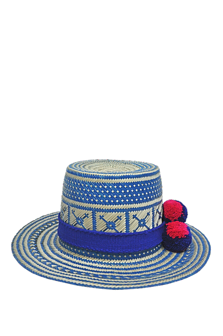 Estrela Straw Hat with pompoms - MãeAzul