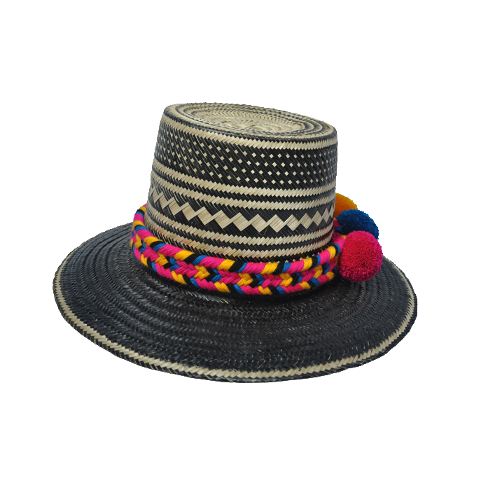 Nero Straw Hat with pompoms - MãeAzul