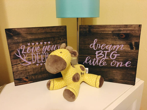 Nursery Decor, Love You Deer, Wood Sign, Baby Girl Room Decor, Baby Boy Room Decor, Love You Dear - Living Word Designs, Inspirational Home Decor