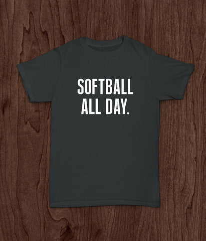 Softball T Shirt, Softball All Day, Youth T Shirt, Girls T Shirt, Sports Shirt - Living Word Designs, Inspirational Home Decor