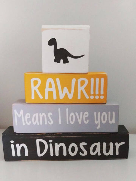 Baby Nursery Decor, Dinosaur Theme Blocks, Rawr Means I Love You In Dinosaur - Living Word Designs, Inspirational Home Decor