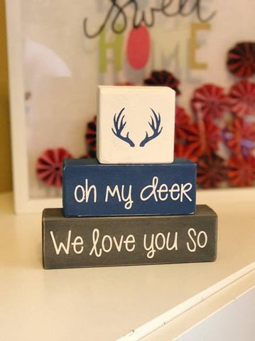 Custom Nursery Blocks, Baby Boy, Baby Girl, Hunting Theme, Oh My Deer, We Love You So, Woodland Home Decor