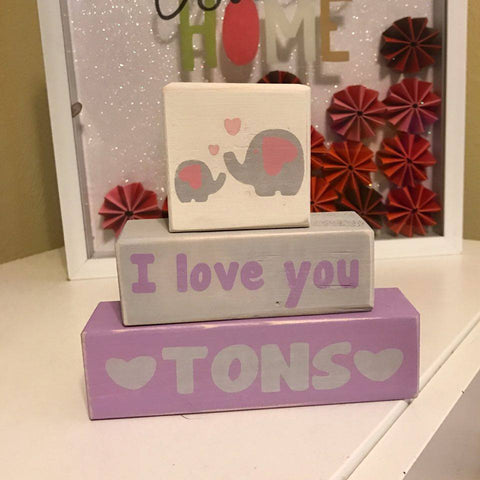 Customized Baby Nursery Blocks, I Love You Tons, Baby Girl, Baby Boy, Animal Theme, Elephants - Living Word Designs, Inspirational Home Decor