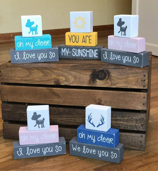 Baby Nursery Blocks, Hunting Theme, Oh My Deer, We Love You So, Woodland Home Decor - Living Word Designs, Inspirational Home Decor