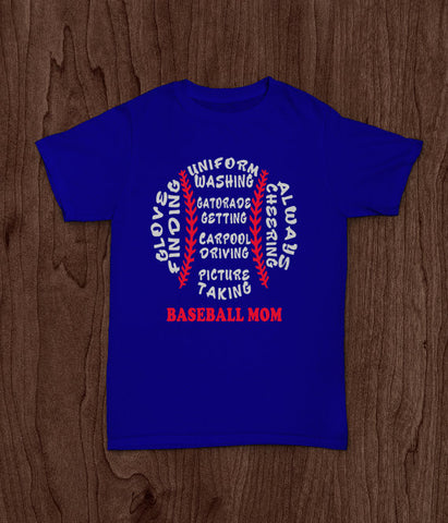 Baseball Mom,  Adult T Shirt, Cheering Uniform Picture Red White Blue - Living Word Designs, Inspirational Home Decor