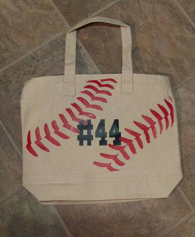 Canvas Tote Bag, Baseball Tote Bag, Softball, Little League Bag With Player Number, Baseball Mom Bag - Living Word Designs, Inspirational Home Decor