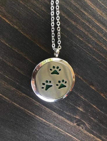 Dog Paw Pattern Aromatherapy Essential Oil Diffuser Pendant Necklace, Hypo-Allergenic 316L Stainless Steel, 22-Inch Chain and 5 Washable Pads - Living Word Designs, Inspirational Home Decor