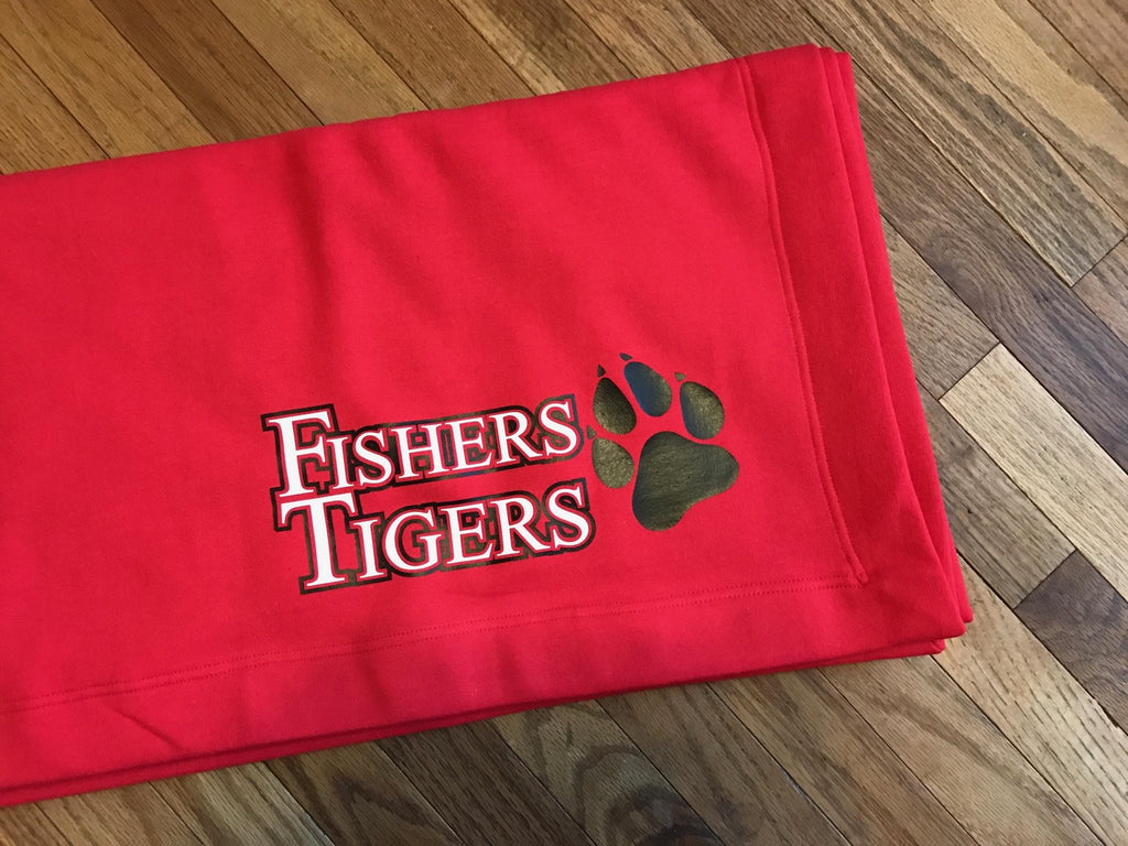 Fishers Tigers Football Blanket, Stadium Blanket, 100% Cotton, Sweatshirt Blanket - Living Word Designs, Inspirational Home Decor