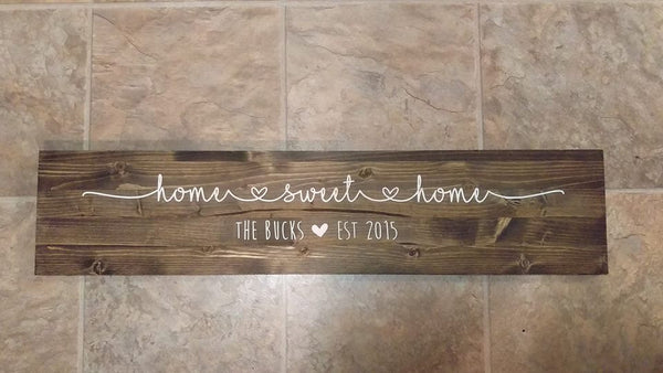 Home Sweet Home, Personalized Wood Sign, Last Name, Marriage Sign, Customized Home Sign - Living Word Designs, Inspirational Home Decor