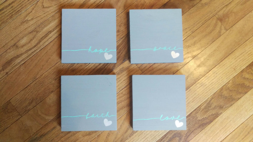 Inspirational Wood Signs, Set of Four, Faith, Hope, Love, Grace, Wall Art - Living Word Designs, Inspirational Home Decor