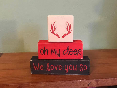 Buffalo Plaid Baby Nursery Blocks, Baby Girl, Baby Boy, Nature Theme, Oh My Deer, We Love You So, - Living Word Designs, Inspirational Home Decor