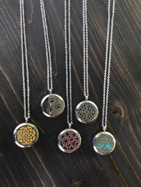 Sunburst Mandala Pattern Aromatherapy Essential Oil Diffuser Pendant Necklace, Hypo-Allergenic 316L Stainless Steel, 22-Inch Chain and 5 Washable Pads - Living Word Designs, Inspirational Home Decor