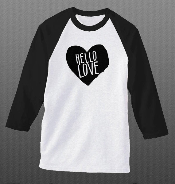 Hello Love, Beautiful Ladies Shirt, Inspirational T Shirt, Heart T Shirt, Raglan Baseball Style Shirt - Living Word Designs, Inspirational Home Decor