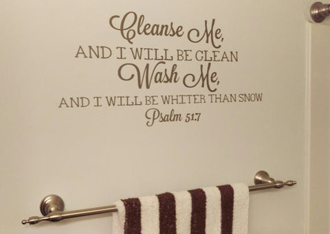 Bathroom Decor, Cleanse Me Wash Me, Vinyl Wall Decal, Bible Verse, Bathroom Sticker, Home Decor - Living Word Designs, Inspirational Home Decor