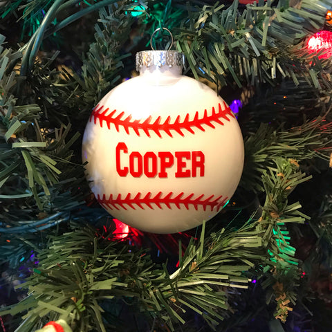 Custom Baseball Christmas Tree Ornament - Living Word Designs, Inspirational Home Decor