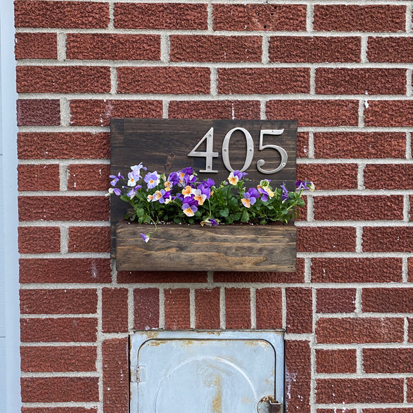 House Number Planter Box, Wooden Address Sign Planter, Hanging Outdoor Planter Box
