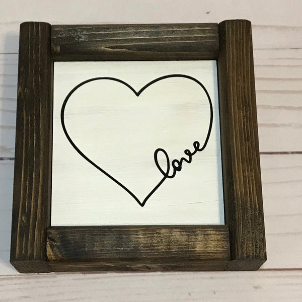 Love Framed Small Wooden Sign With Heart - Living Word Designs, Inspirational Home Decor