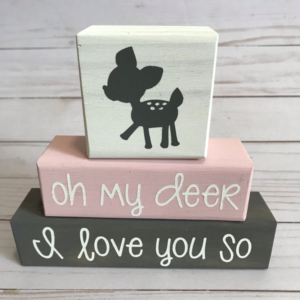 Baby Nursery Blocks, Nature Theme, Oh My Deer, I Love You So, Woodland - Living Word Designs, Inspirational Home Decor