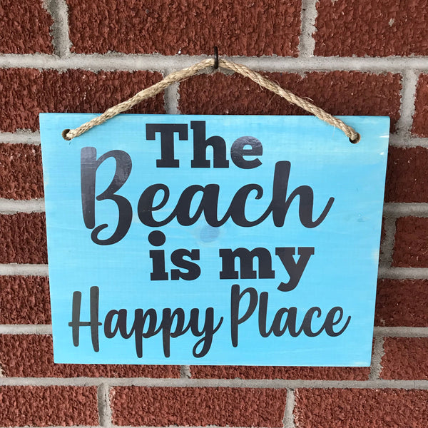 The Beach Is My Happy Place Hanging Wooden Sign - Living Word Designs, Inspirational Home Decor
