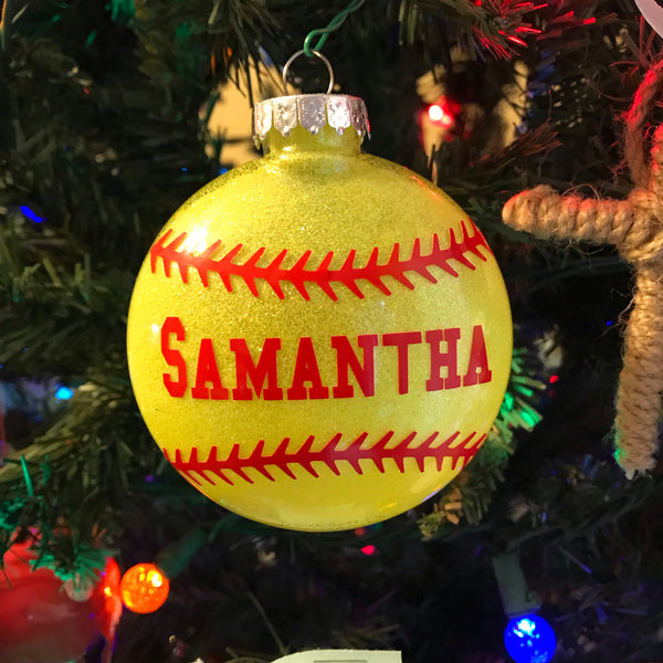 Custom Softball Christmas Tree Ornament - Living Word Designs, Inspirational Home Decor