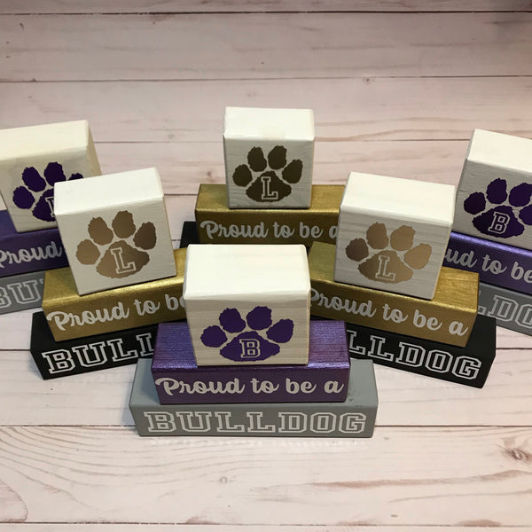Custom Wood Stacking Blocks, Proud To Be A Bulldog, Home Decor - Living Word Designs, Inspirational Home Decor