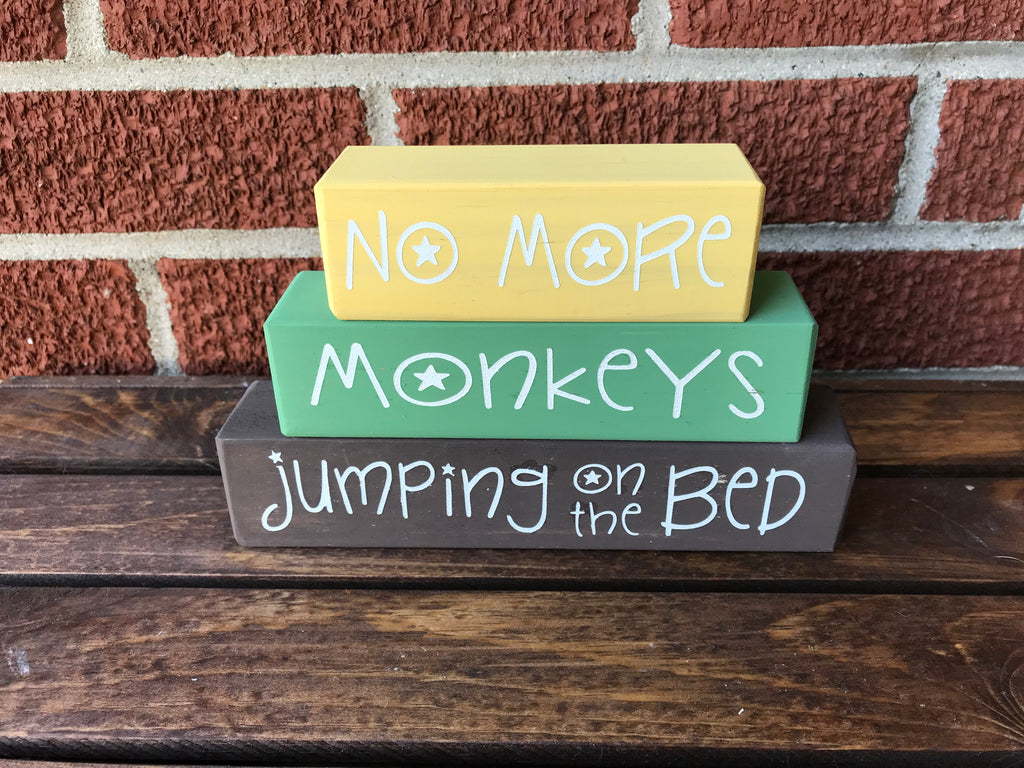 Custom Nursery Blocks, No More Monkeys Jumping On The Bed, Wooden Blocks, - Living Word Designs, Inspirational Home Decor