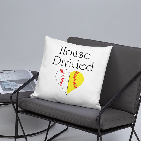 House Divided Baseball and Softball Throw Pillow - Living Word Designs, Inspirational Home Decor