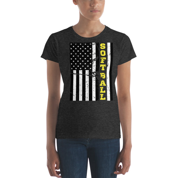 American Pride and Softball Ladies Fit T Shirt - Living Word Designs, Inspirational Home Decor