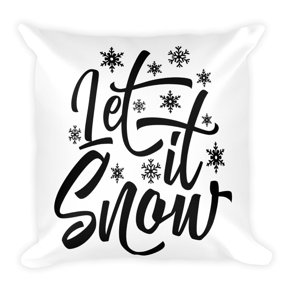 Let It Snow Cute Winter Throw Pillow - Living Word Designs, Inspirational Home Decor
