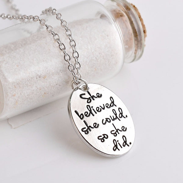 She Believed She Could, So She Did, Inspirational Necklace, Round Pendant With Bird - Living Word Designs, Inspirational Home Decor
