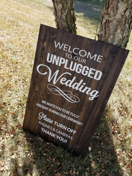 Unplugged Wedding Wood Sign, Wooden Sign, No Cell Phone Sign, Custom Wood Sign - Living Word Designs, Inspirational Home Decor