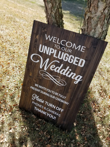 Unplugged Wedding Wood Sign, Wooden Sign, No Cell Phone Sign, Custom Wood Sign