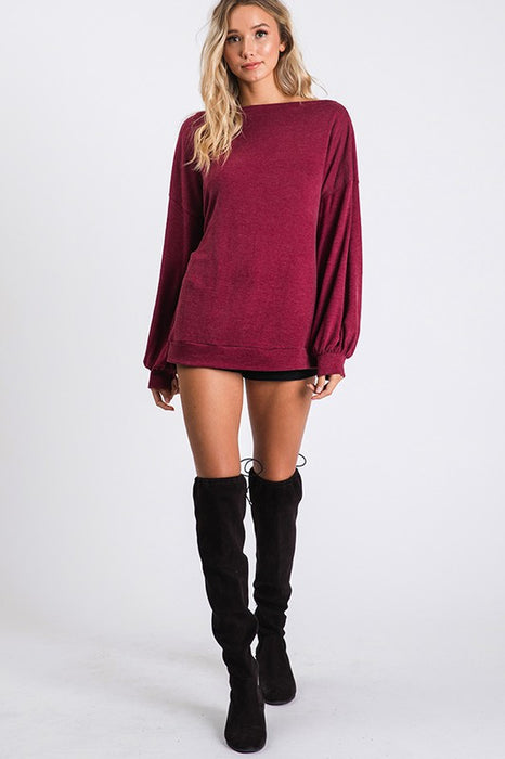 Burgundy Bubble Sleeve Top