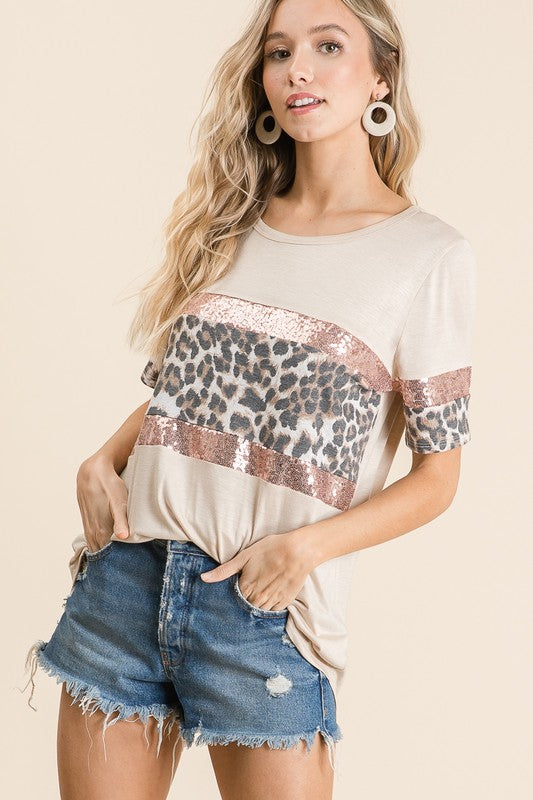 Leopard & Sequins Block Top