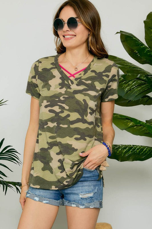 Camo Top with Criss Cross Neck