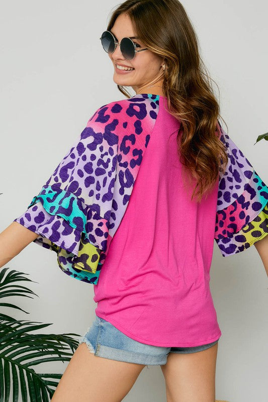 Multi Colored Leopard Top