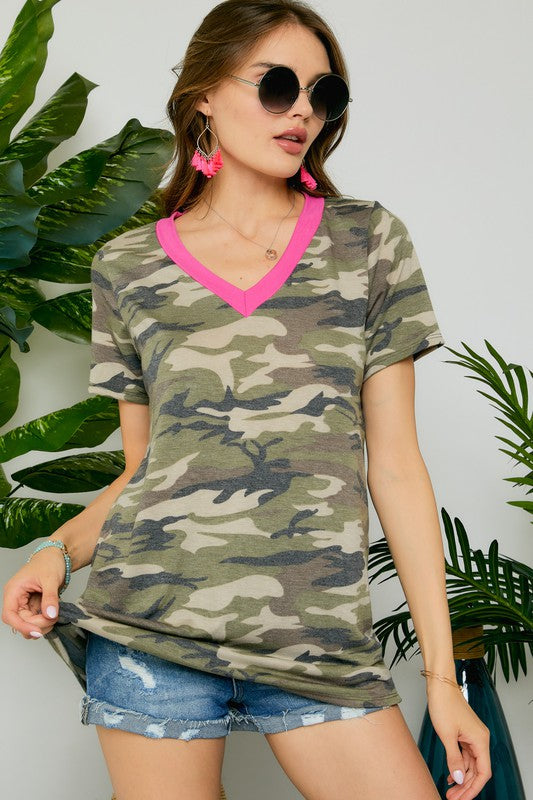Camo Top with Neon Contrast