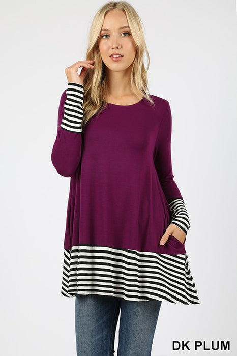 Striped & Solid Contrast Top - Multiple Colors