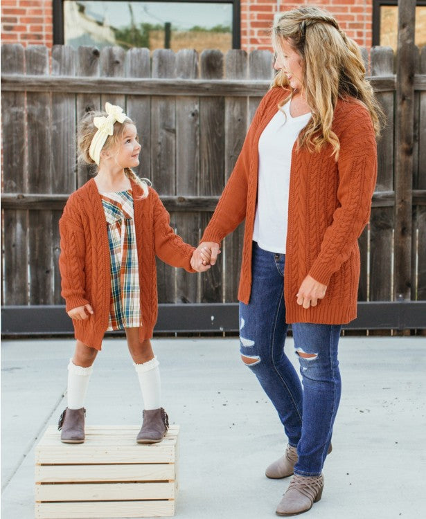 Orange Spice Chunky Knit Open Style Cardigan - Mommy & Me