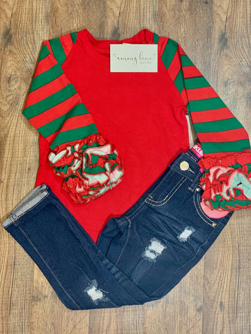 Christmas Red & Green Ruffled Top