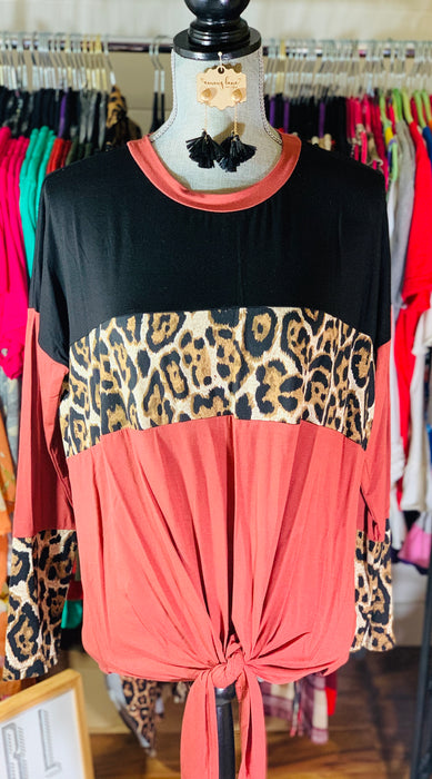 Black, Rust & Leopard Color Block Top