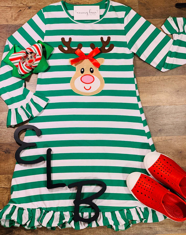 Reindeer Ruffle Striped Dress