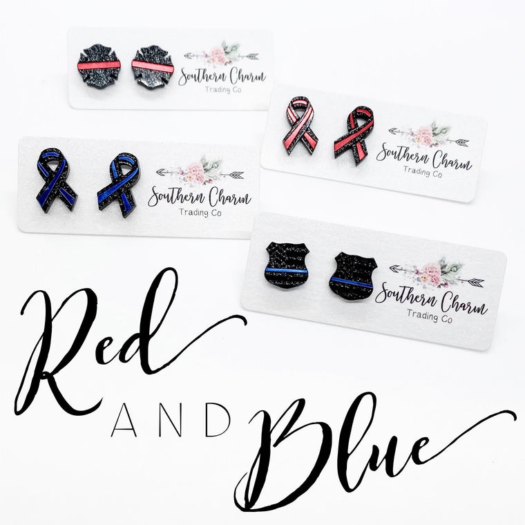 Red & Blue Line Earrings