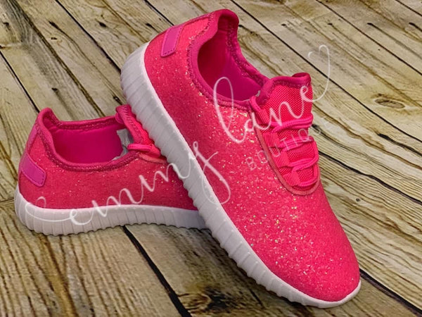 Hot Pink Kids Glittered Shoes