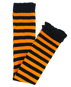 Orange/Black Striped Footless Ruffle Tights