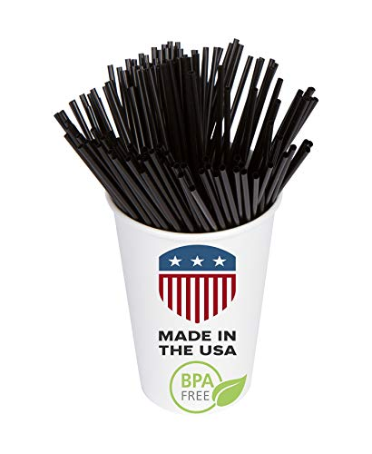 "Coffee, Cocktail, Drink Sip Stirrer Sticks: USA Made, BPA Free: Plastic Sipping Straws For Bars, Cafes, Restaurants, Office & Home | Stir Hot & Cold Beverages | 5.25"" Black, 1000ct"