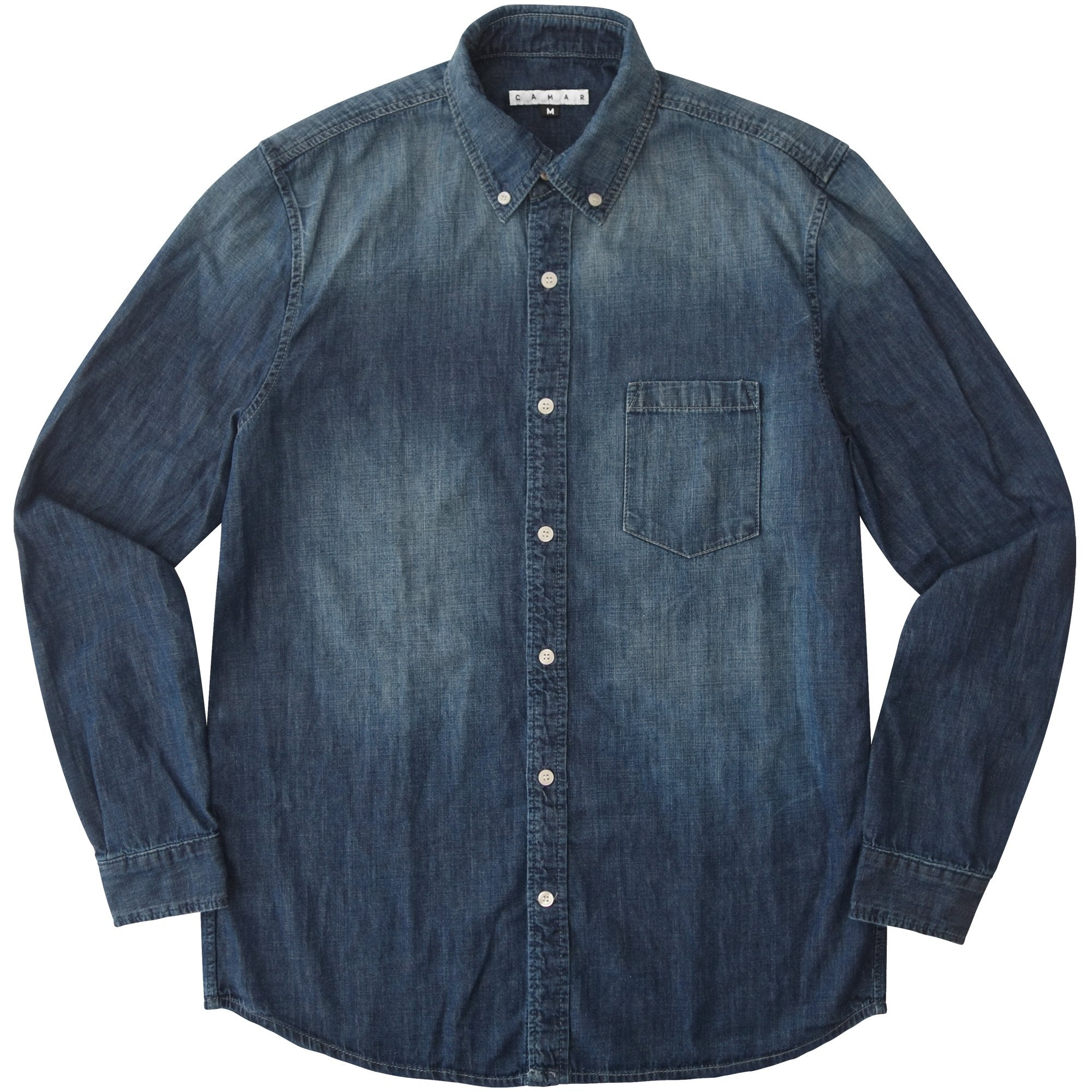 Washed Denim Woven Button Up - CAMAR