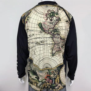 Vectors Inc. Antique Map Long Sleeve Technical UPF 50 Shirt