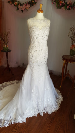Lace Crystal Trumpet Wedding Gown
