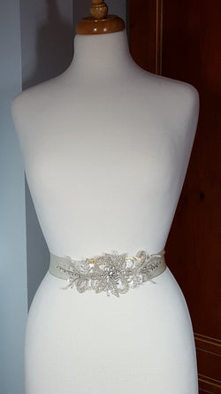 Ivory Sash with Beading and Crystals